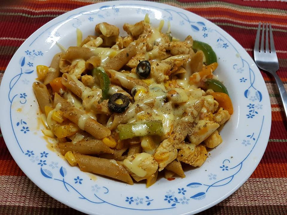Brown pasta with chicken and vegetables-by-Rasoirecipes