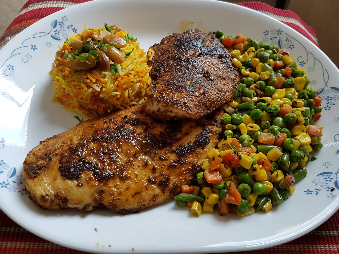 Baked chicken with sauteed vegetables and flavoured rice-by-Rasoirecipes
